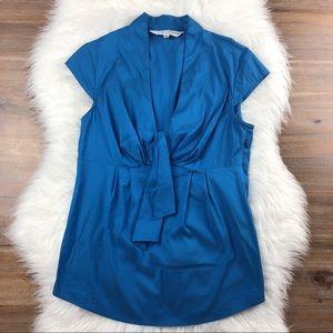 Trina Turk | Blue Splash Cap Sleeve Tie Blouse M
